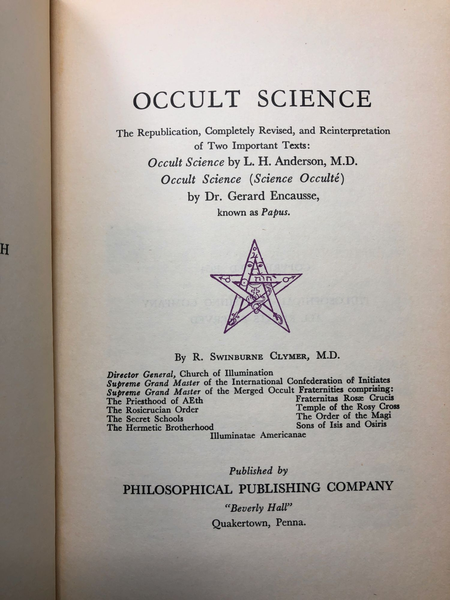 Occult Science or Hidden Forces by L  H  Anderson, Gerard Encausse, R   Swinburne Clymer on Underground Books