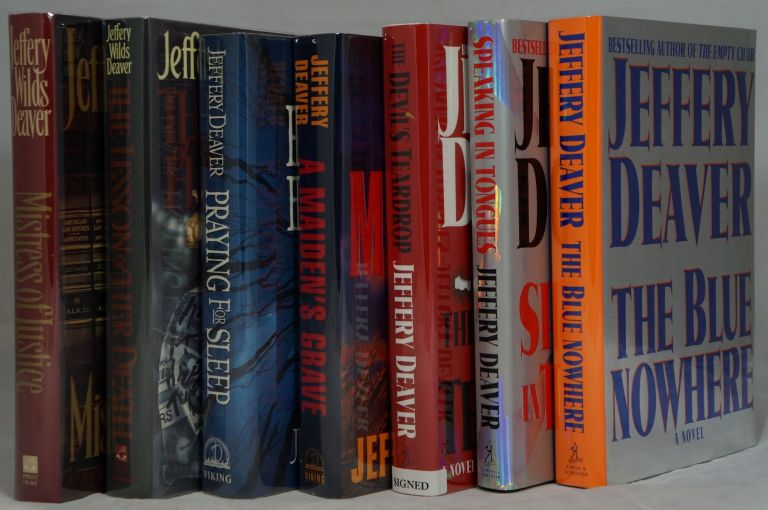 Jeffery Deaver's First 7 Stand-Alone Works: Mistress of Justice, The Lesson of Her Death, Praying for Sleep, A Maiden's Grave, The Devil's Teardrop, Speaking in Tongues, [and] The Blue Nowhere (Seven Volume Set of First Editions). Jeffery Deaver.
