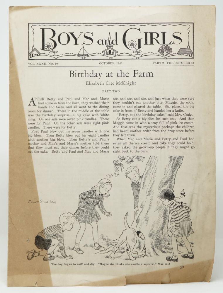 Boys and Girls Story Paper, Vol. XXXII, No. 10, Part 2--For October 13, 1940. C. A. Bowen, Mary P. Ferguston, Martha DuBerry, Elizabeth Cate McNight, Carroll Lane Fenton, Eleanor Thomas, Turner, rd, Alice Crowell Hoffman, Verna G. McCully, Natalie R. Young.