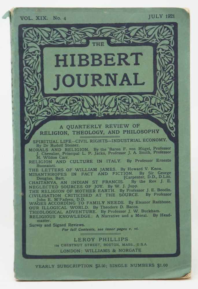 The Hibbert Journal, Vol. XIX, No. 4, July 1921. Rudolf Steiner.