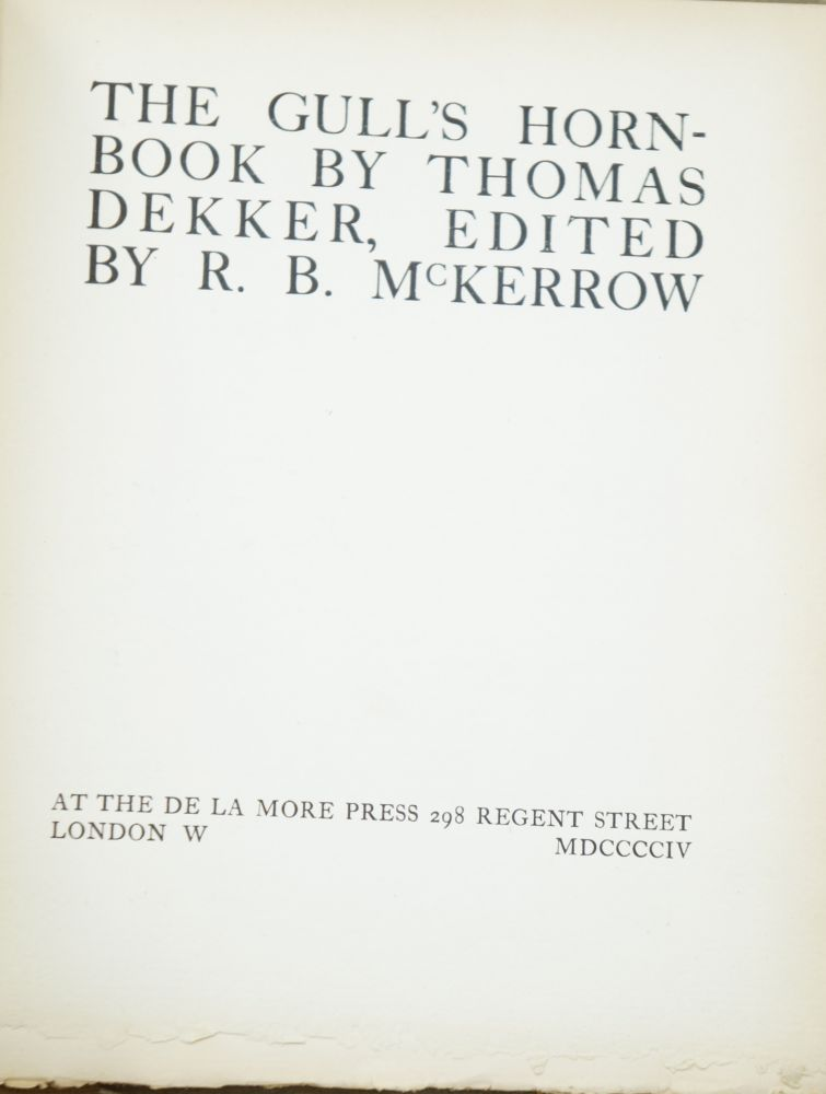 The Gull's Hornbook (The King's Library). Thomas Dekker, R. B. McKerrow.