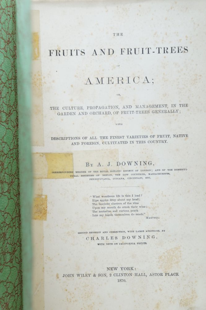 The Fruits and Fruit-Trees of America; Or, The Culture, Propagation, and Management, in the Garden and Orchard, of Fruit-Trees Generally; with Descriptions of All the Finest Varieties of Fruit, Native and Foreign, Cultivated in this Country. A. J. Downing.