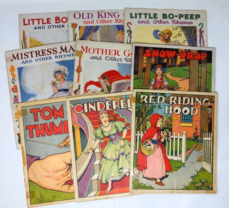 Nine Linenette and Sam'l Gabriel Picture Books: Cinderella, Snow-Drop, Red Riding Hood, Tom Thumb, Mother Goose and Other Rhymes, Mistress Mary and Other Rhymes, Little Bo-Peep and Other Rhymes, Old King Cole and Other Rhymes, and Little Boy Blue and Other Rhymes [9 Books]. R. A. Burley, Gordon Robinson.