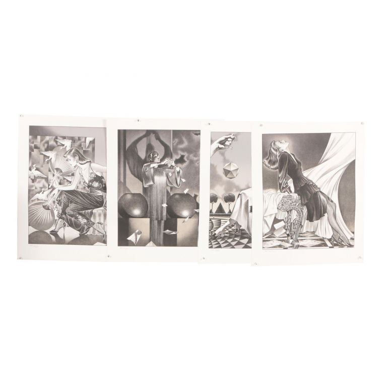 The Letter: Swept Away, The Messenger, Spellbound, The Fan [Complete Suite of 4 Signed and Numbered Lithographs]. George Stavrinos.