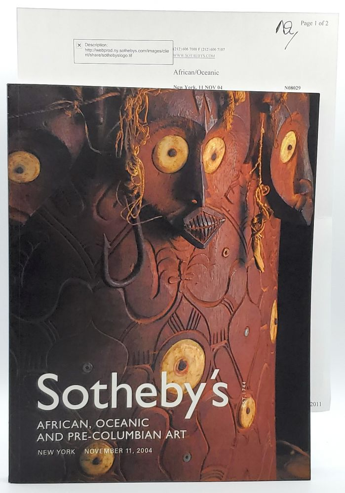 African, Oceanic and Pre-Columbian Art, New York, November 11, 2004 [Sotheby's Auction Catalog]