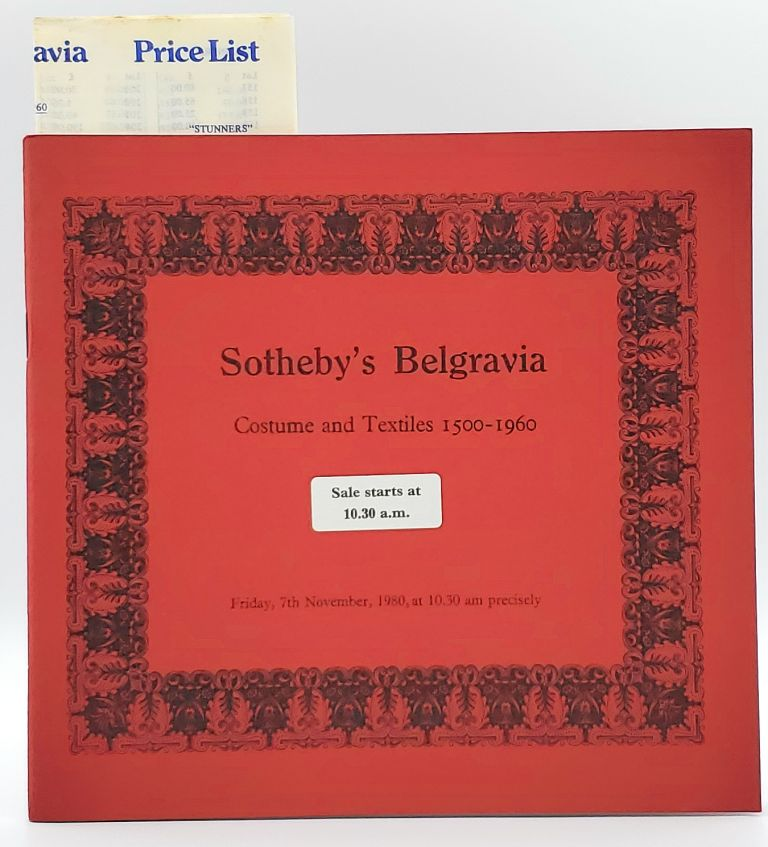 Costume and Textiles 1500-1960, London, Friday, 7th November, 1980 [Sotheby's Belgravia Auction Catalog]