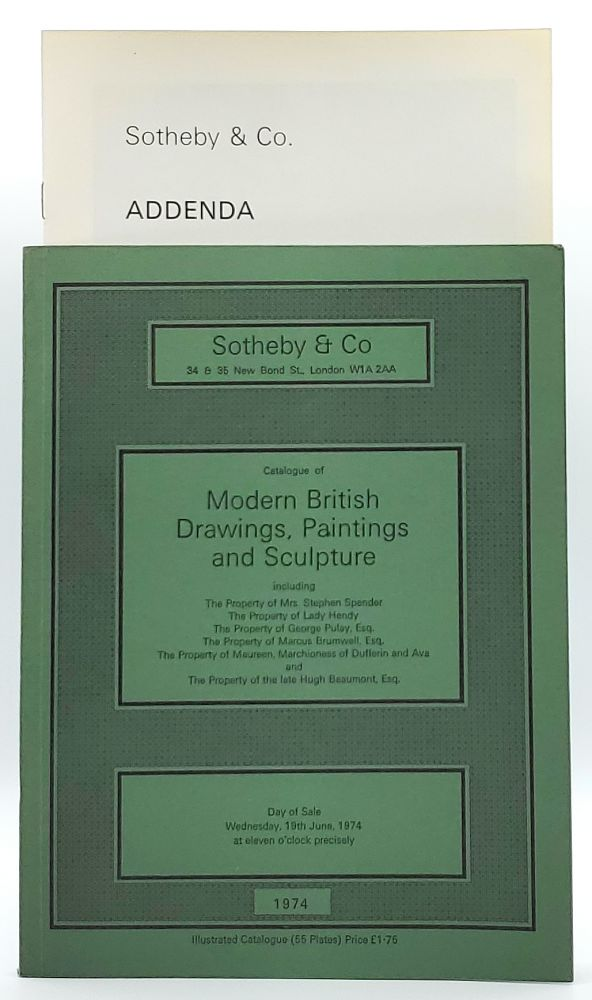 Modern British Drawings, Paintings and Sculpture, London, Wednesday, 19th June, 1974 [Sotheby & Co. Auction Catalog]