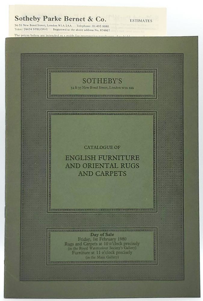 English Furniture and Oriental Rugs and Carpets, London, Friday, 1st February, 1980 [Sotheby's Auction Catalog]