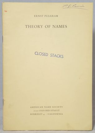 Theory of Names. Ernst Pulgram