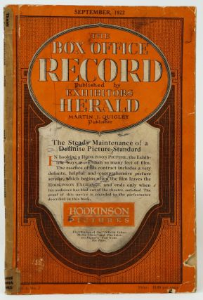 The Box Office Record, Vol. I, No. 2, September 1922. William R. Weaver