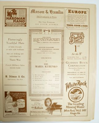 1926 Carnegie Hall Programs: Song Recital by Mme. Maria Kurenko on January 16th; Oratorio Society of New York's Elijah (Mendelssohn) on February 12th; Song Recital by Mary Lewis on February 28th; Song Recital by Dusolina Giannini on February 28th; violinist Fritz Kreisler on April 3rd; Oratorio Society of New York performing Bach's Mass in B Minor on April 17th [Six Programs from the year 1926 at Carnegie Hall]
