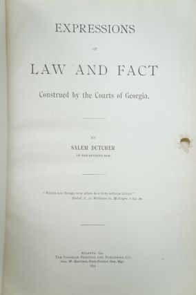 Expressions of Law and Fact Construed by the Courts of Georgia