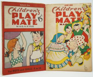 Children's Play Mate Magazine, August 1944 [and] June 1945. Esther Cooper