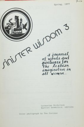 [Feminist Lesbianism] Sinister Wisdom, 6 Issues: Issue 3, Spring 1977; Issue 19, Winter 1982; Issue 20, Spring 1982; Issue 21, Fall 1982, Issue 24, Fall 1983; Issue 41, Summer/Fall 1990: Il Viaggio delle Donne, Italian-American Women Reach Shore [Six Issues]