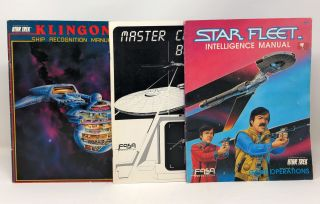 STAR TREK, 3 Books from FASA: Klingon Ship Recognition Manual, Master Control Book, Star Fleet...