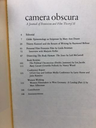Camera Obscura: A Journal of Feminism and Film Theory, Issue 11, Fall 1983