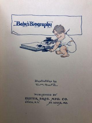Baby's Biography [Antique Baby Book, Filled Out]