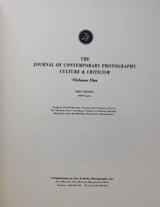 The Journal of Contemporary Photography Culture & Criticism, Volume One