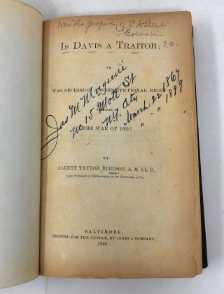 Is Davis a Traitor; or Was Secession a Constitutional Right Previous to the War of 1861
