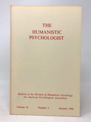 The Humanistic Psychologist Volume 14 Number 3 Autumn 1986. Christopher Aanstoos