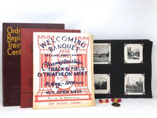 1954-1955 US Army Photo Album/Scrapbook with Track and Field Ephemera, Lapel Pins, December 1953...
