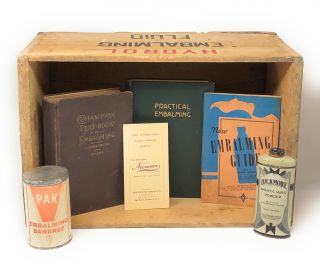 Circa 1930s Vintage Embalming Collection: Hydrol Embalming Fluid Crate, Bickmore Morticians...