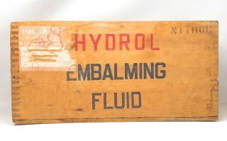 Circa 1930s Vintage Embalming Collection: Hydrol Embalming Fluid Crate, Bickmore Morticians Powder, Pak Embalming Bandage, Champion Text-Book on Embalming, Practical Embalming Book, New Embalming Guide Booklet, and Necrosan Embalming Fluid Spray Pamphlet [7 Vintage Embalming Items]