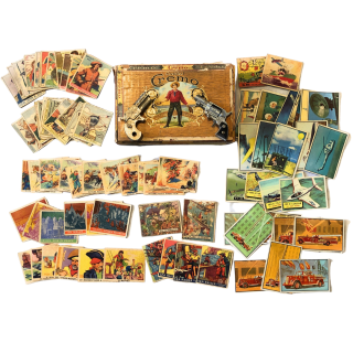 1930's and 1940's Non-Sports Trading Card Collection with Vintage Cap Guns in Cigar Box Gum...