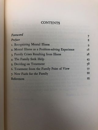 The Family and Mental Illness [SIGNED FIRST EDITION]